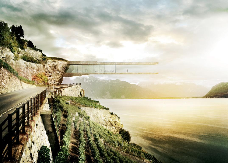 Aussichtsplattform über den Genfersee