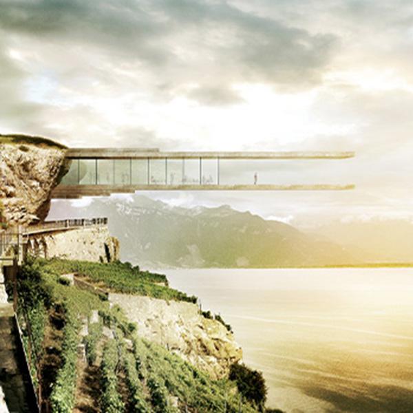 Über dem Genfer See schweben