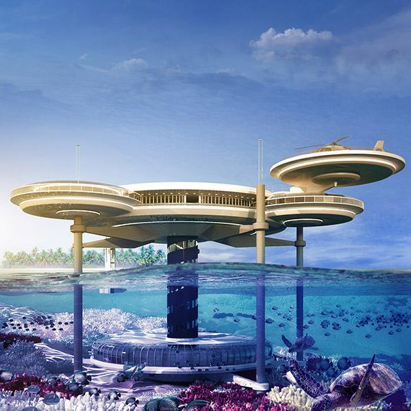 Scheibenhotel unter Wasser