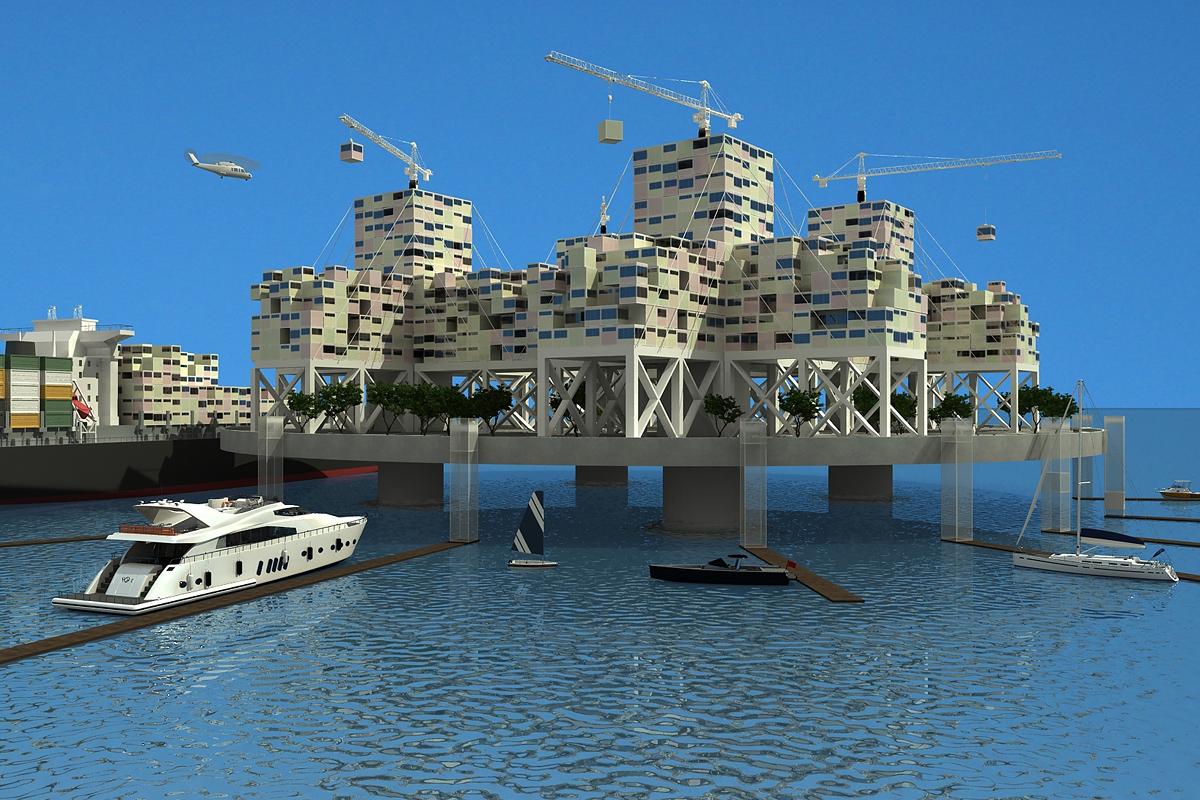 Seasteading-Entwurf: Rendering Freedom