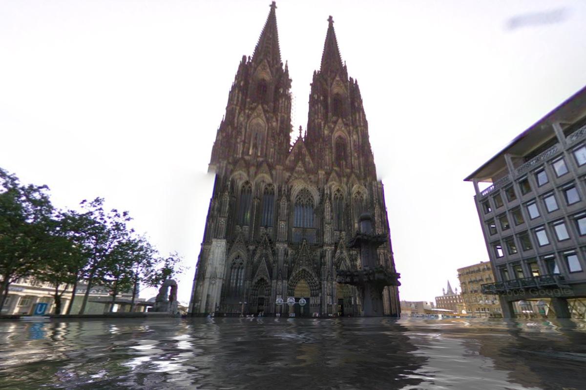 Kölner Dom unter Wasser