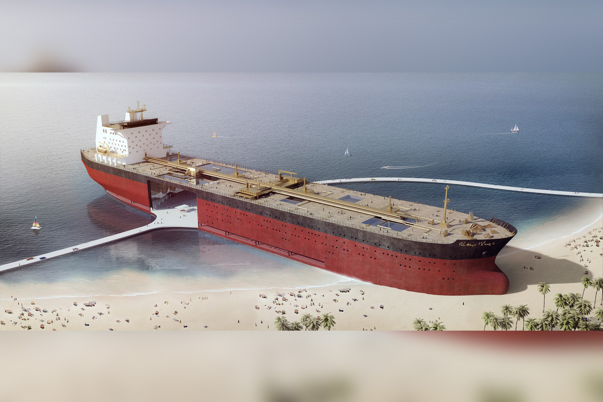 Ein Supertanker am Arabischen Golf
